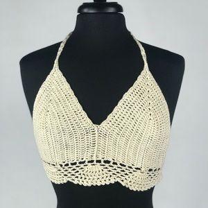 Forever 21 Crochet Crop Halter Top
